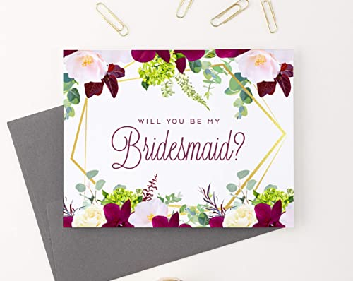 Matron of Honor Maid of Honor Flower Girl Ask Bridal Party Cards Gift Personalized Custom Color Will You Be My Bridesmaid Cards