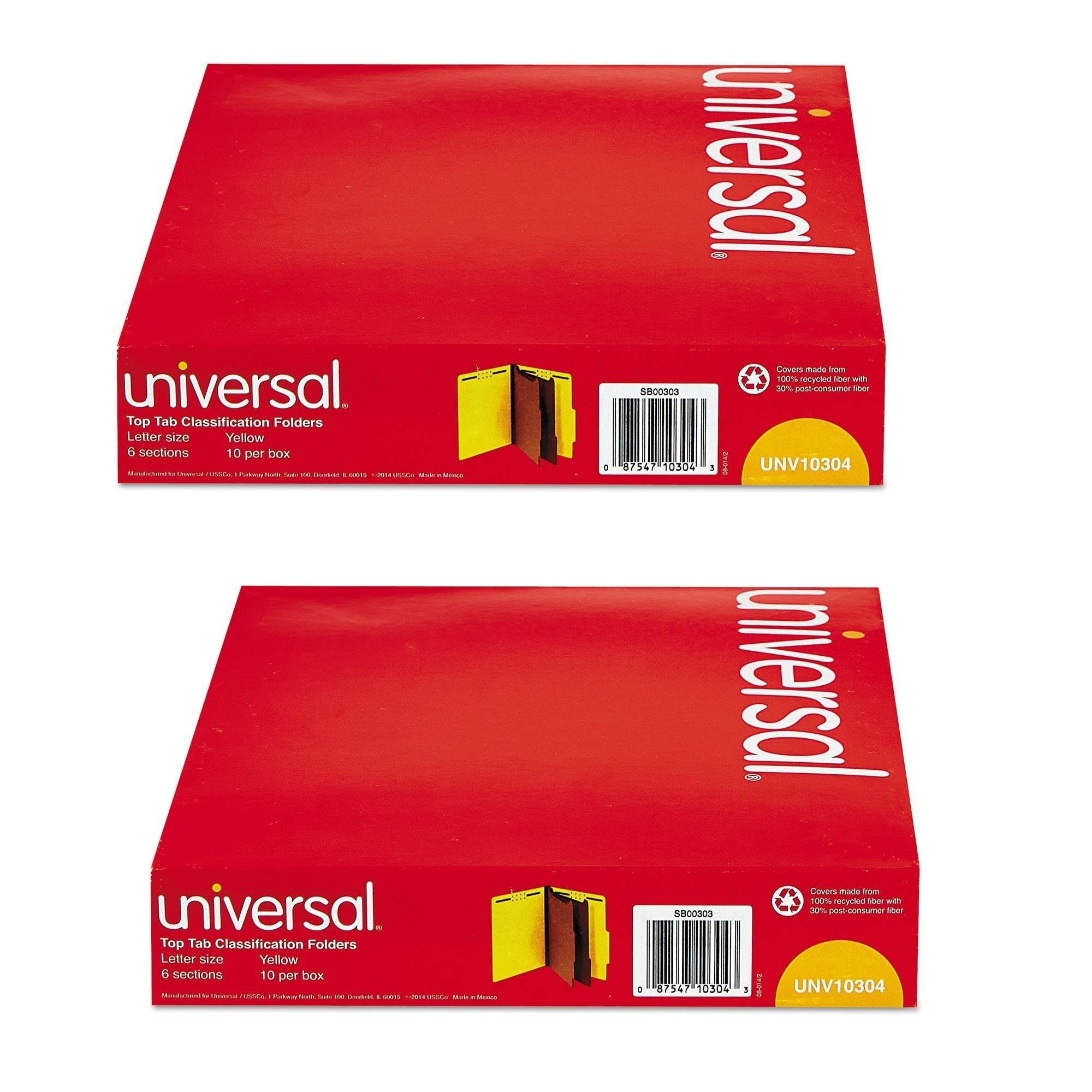 Universal Pressboard Classification Folders, Letter, Six-Section, Yellow, 10/Box (10304), 2 Pack by Universal