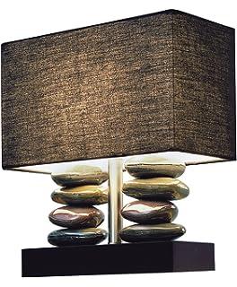 Elegant Designs LT1036 BLK Rectangular Dual Stacked Stone Ceramic Table Lamp,  Black