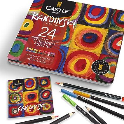 Castle Arts 24 lápices de colores en un estuche de metal, inspirado en Kandinsky. Perfecto para dibujar, hacer bocetos, colorear. Con núcleos blandos, mezcla superior y juego de capas: Amazon.es: Oficina y