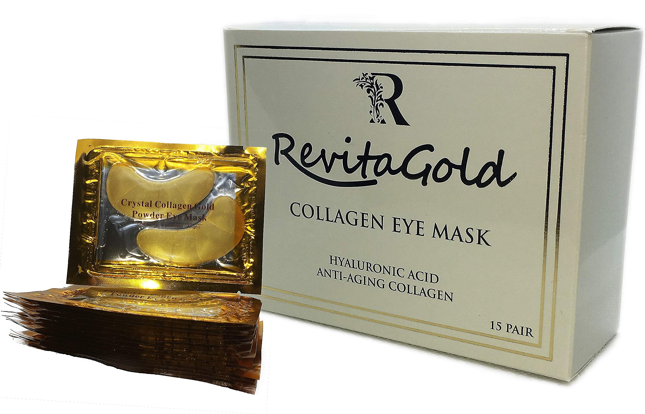 Under Eye Patches Premium Collagen Eye Mask for Puffy Eyes Made with Hyaluronic Acid, Vitamins C & E, and Gold Particles for Under Eye Bags Treatment by RevitaGold
