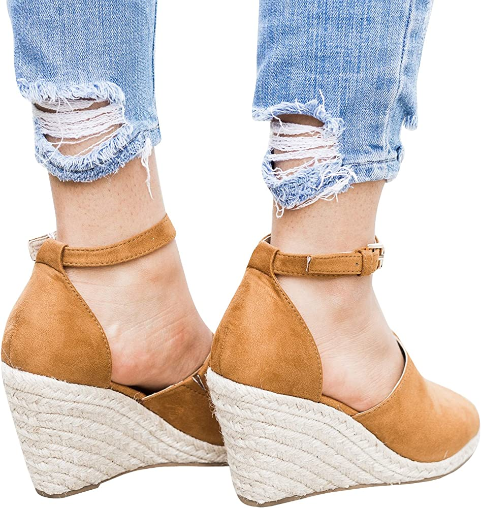89c45ec8ecf Womens Summer Espadrille Wedge Sandals Peep Toe Suede Leather Ankle Strap  Platform Shoes