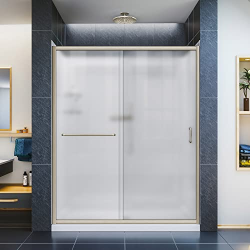 DreamLine Infinity-Z 32 in. D x 60 in. W x 76 3 4 in. H Frosted Sliding Shower Door in Brushed Nickel, Right Drain Base, Backwalls, DL-6117R-04FR