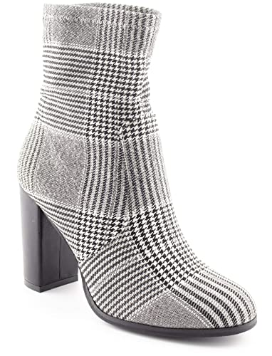 572ca43ca8f CALICO KIKI Women's Stretchy Ankle Booties Chunky Heel - Fabric Plaid Block  High Heel Ankle Boots