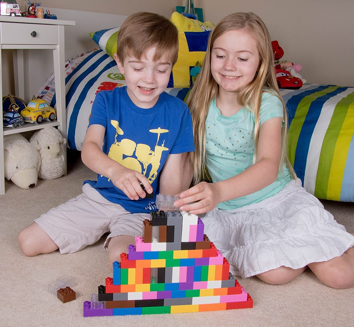 Strictly Briks 24 Rainbow Colors Compatible with All Major Brands Large Building Blocks for Ages 3 and Up 204 Pieces Big Briks Set