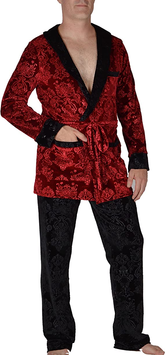 Image result for Revolver Fashion/Funstigators - Hugh HEFNER Red Velvet Signature Smoking Jacket for Home, Parties, and More