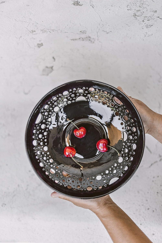 Ceramic Fruit Bowl Black Centerpiece, Fruit Dishes, Halloween Tableware, Pottery Plates Handmade