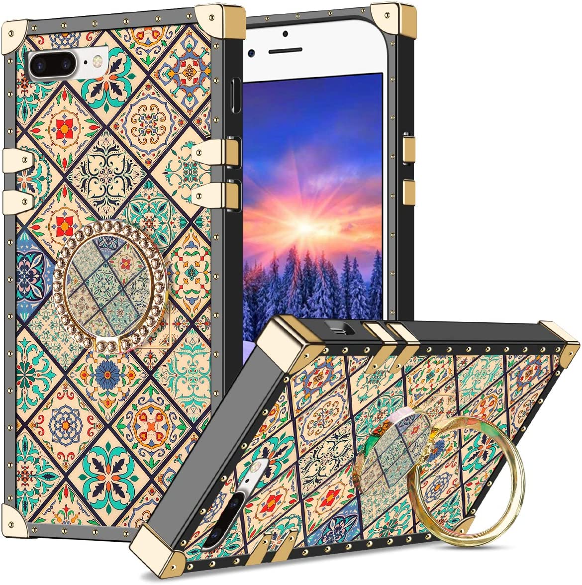 WOLLONY for iPhone 7 Case,iPhone 8 Case with Ring Stand Square Edge for Hippie Women Girl Retro Flower Kickstand Protective Heavy Duty Reinforced Shockproof for iPhone 7/8/SE2 4.7inch Square