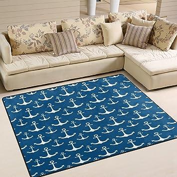 Amazon Com Alaza White Nautical Anchor Blue Area Rug Rugs For