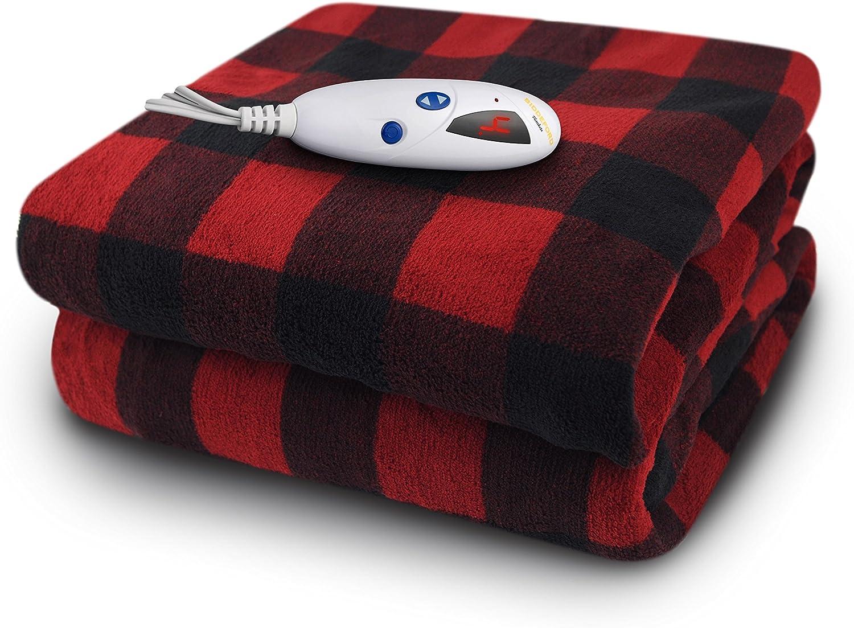 Biddeford 4465-906196-316 Microplush Heated Electric Digital Throw, Black/Red Buffalo Check