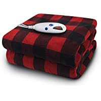 Biddeford Blankets Micro Plush Electric Heated Blanket with Digital Controller, Black/Red Buffalo Plaid, Throw