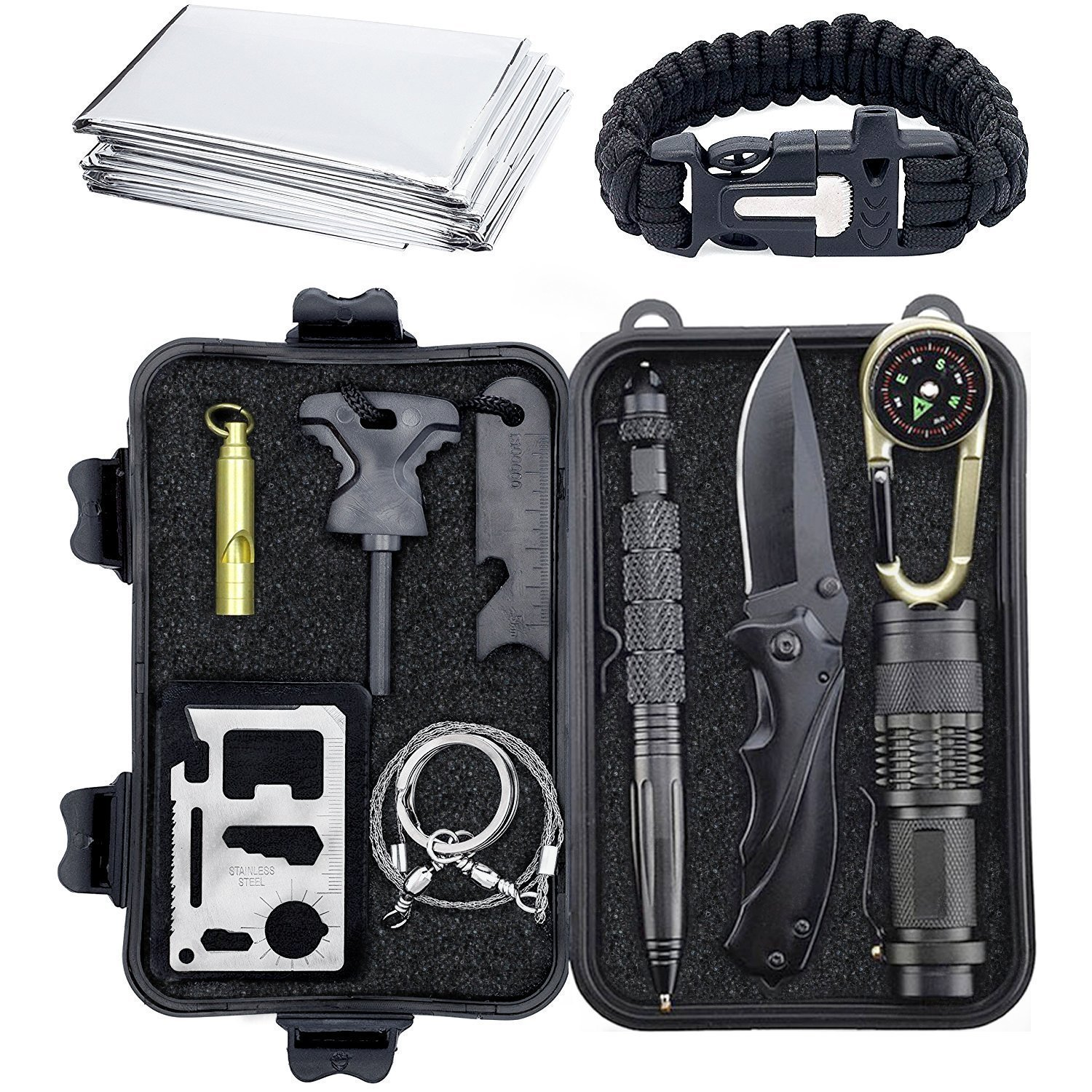 Emergency Survival Gear Kits 10 in 1 - Paracord Bracelet/Knife / Emergency Blanket/Fire Starter/Whistle / Tactical Pen/Wire Saw/Credit Card Knife/Flashlight Camping, Hiking, Climbing