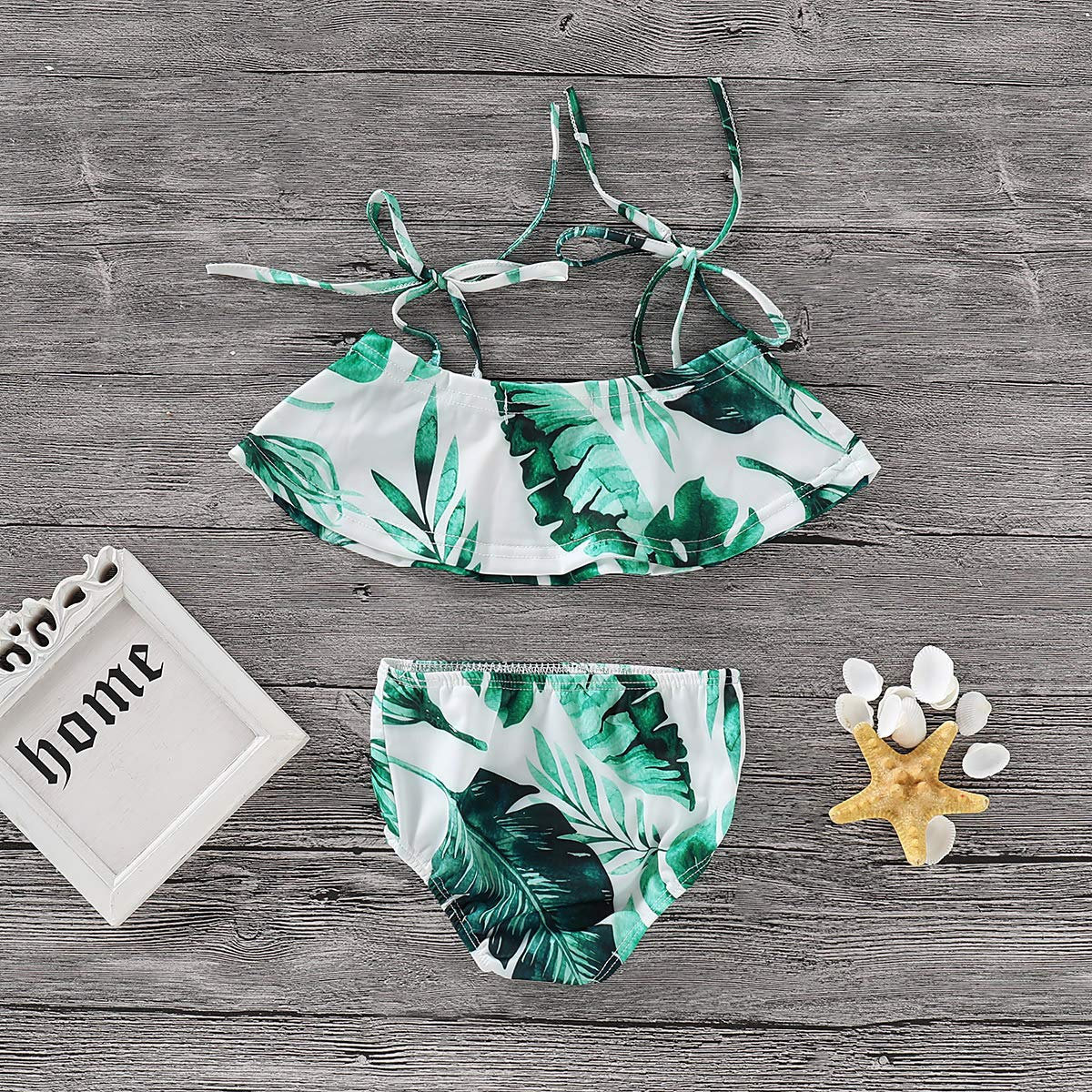 Baby Girls Print Two Pieces Strap Tie Bowknot Summer Swimwear
