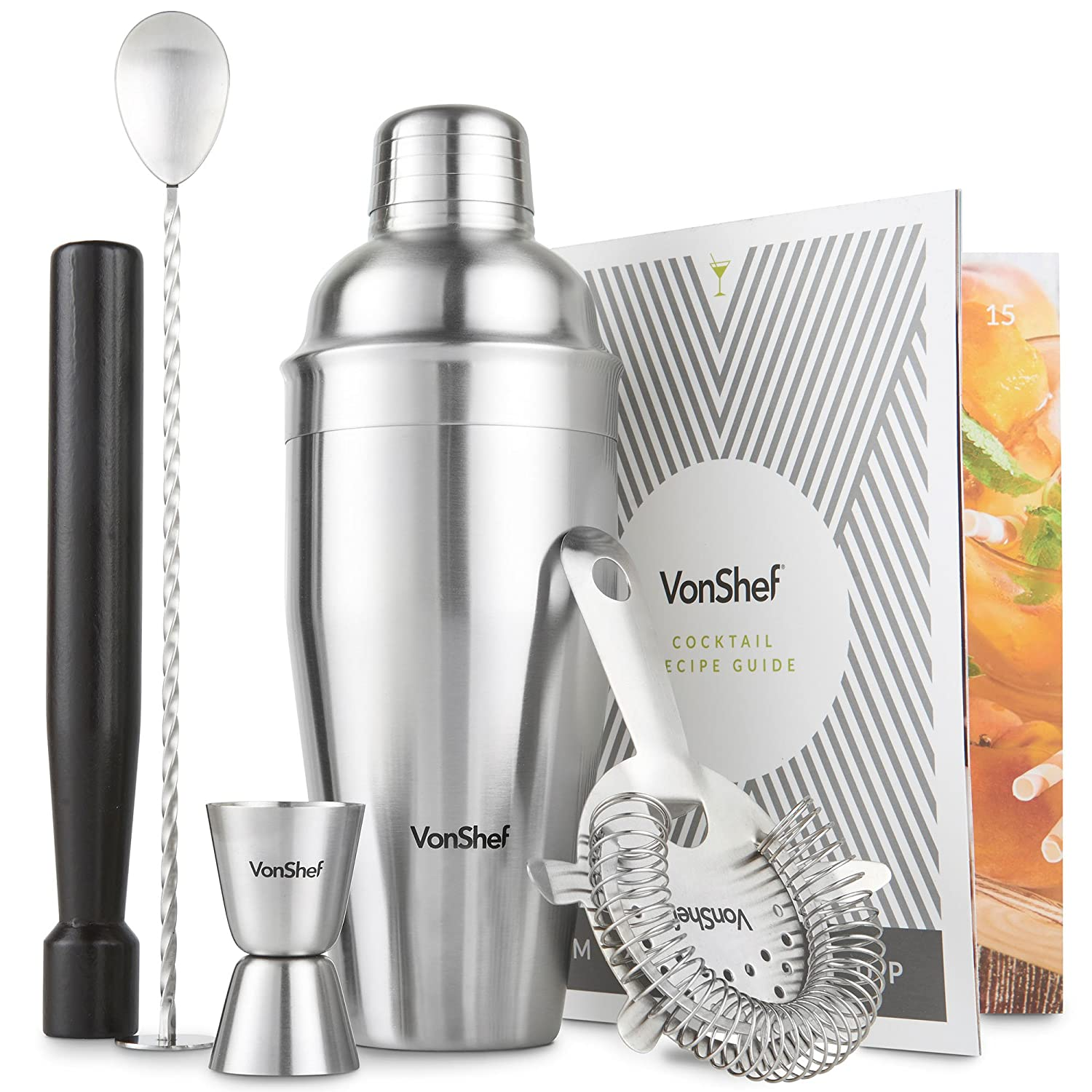 VonShef Manhattan Cocktail Shaker Set with Recipe Guide, Stainless Steel, Includes Twisted Bar Spoon, Hawthorne Strainer, 0.5 Ounce 1 Ounce Measuring Jigger, Wooden Muddler, 19 Ounce Shaker 07/754US