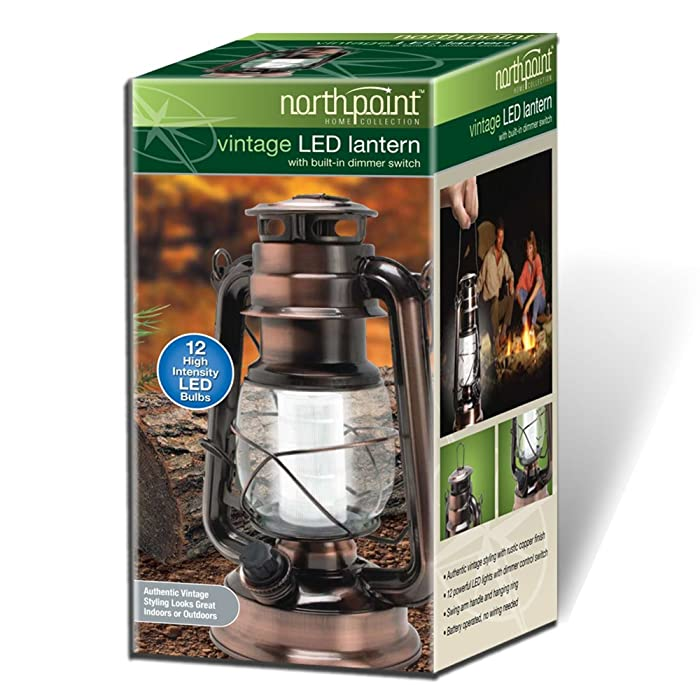 Northpoint Vintage Style Copper Hurricane Lantern with 12 LED's and 150 Lumen Light Output and Dimmer switch, Battery Operated Hanging Lantern for Indoors and Outdoor Usage