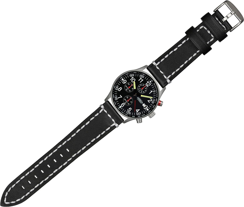 Astroavia Herren Armbanduhr Chronograph Quarz mit Leder Armband N97L3