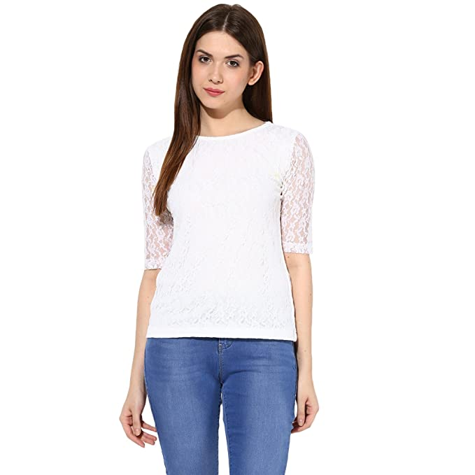 f084e49bf69ea4 Miss Chase Women s Lace Top  Amazon.in  Clothing   Accessories