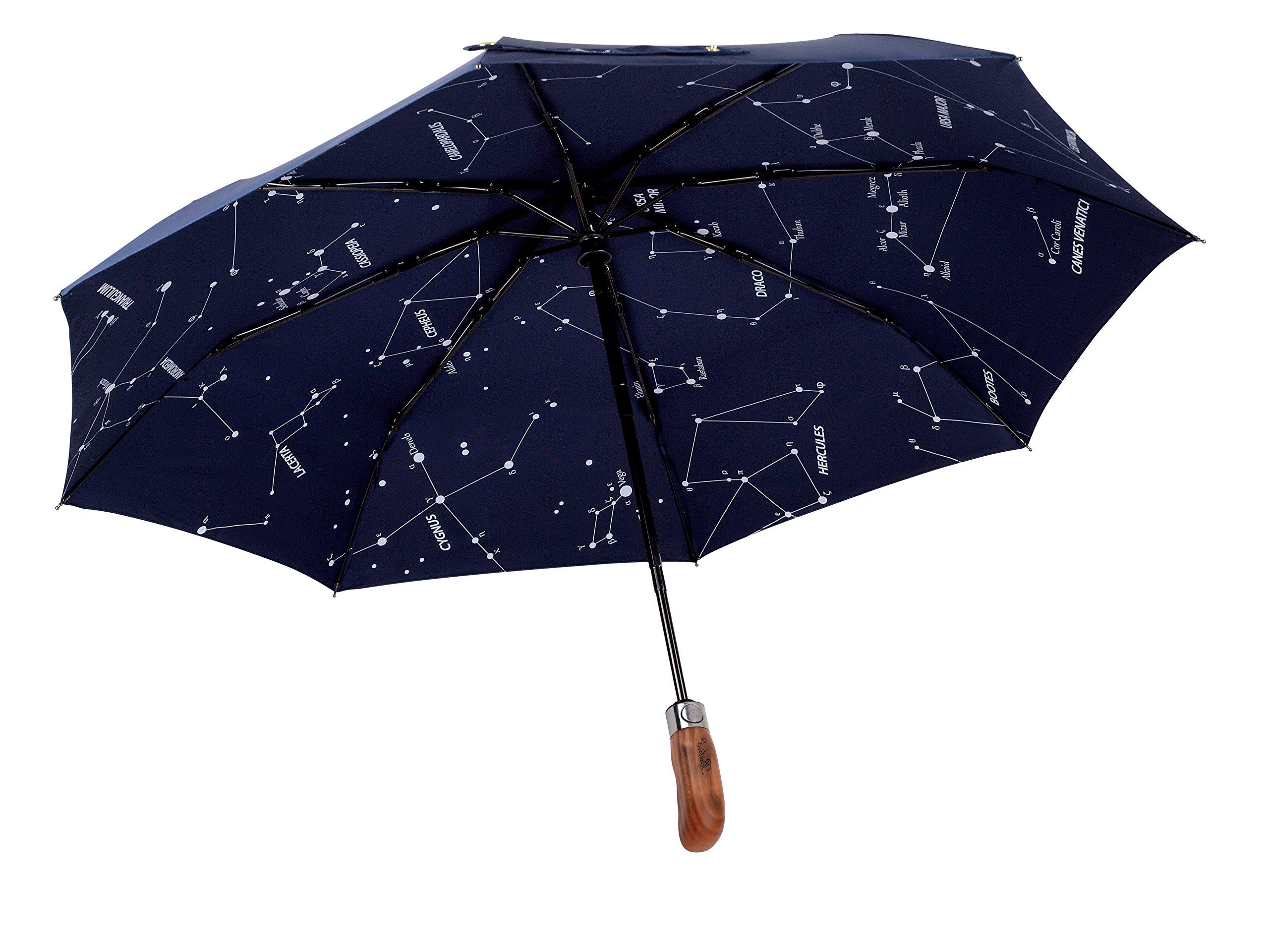 Balios (Designed in UK) Umbrella Handmade Real Wood Handle-Dark Navy with Sophisticated Constellation Interior Pattern-Windproof Fiberglass Auto Open Close Folding-300T Finest Fabric-Luxury Gift Box