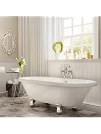 Luxury 60 Inch Modern Clawfoot Tub In White With Stand Alone Freestanding  Tub Design,