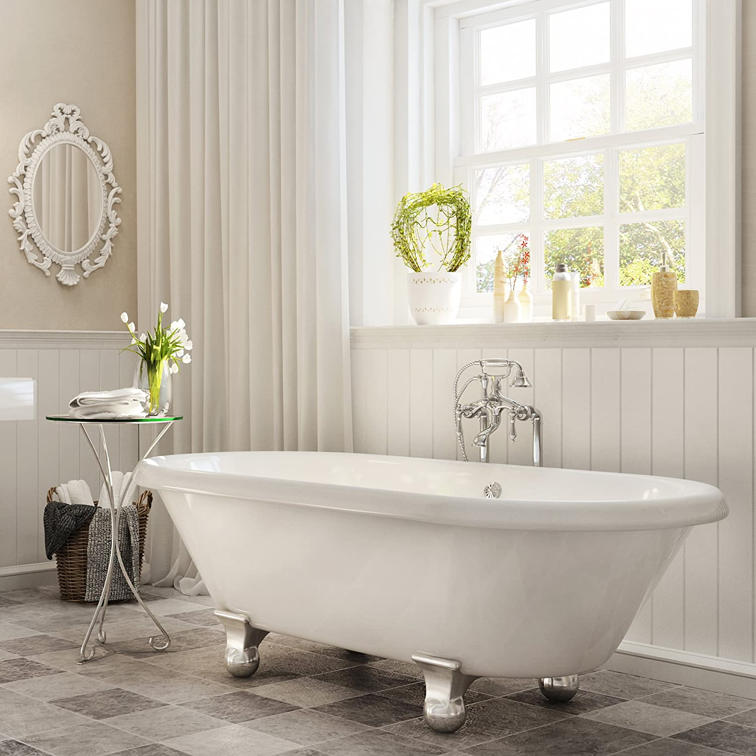 . Luxury 60 inch Modern Clawfoot Tub in White with Stand Alone Freestanding  Tub Design  includes Modern Polished Chrome Cannonball Feet and Drain  from