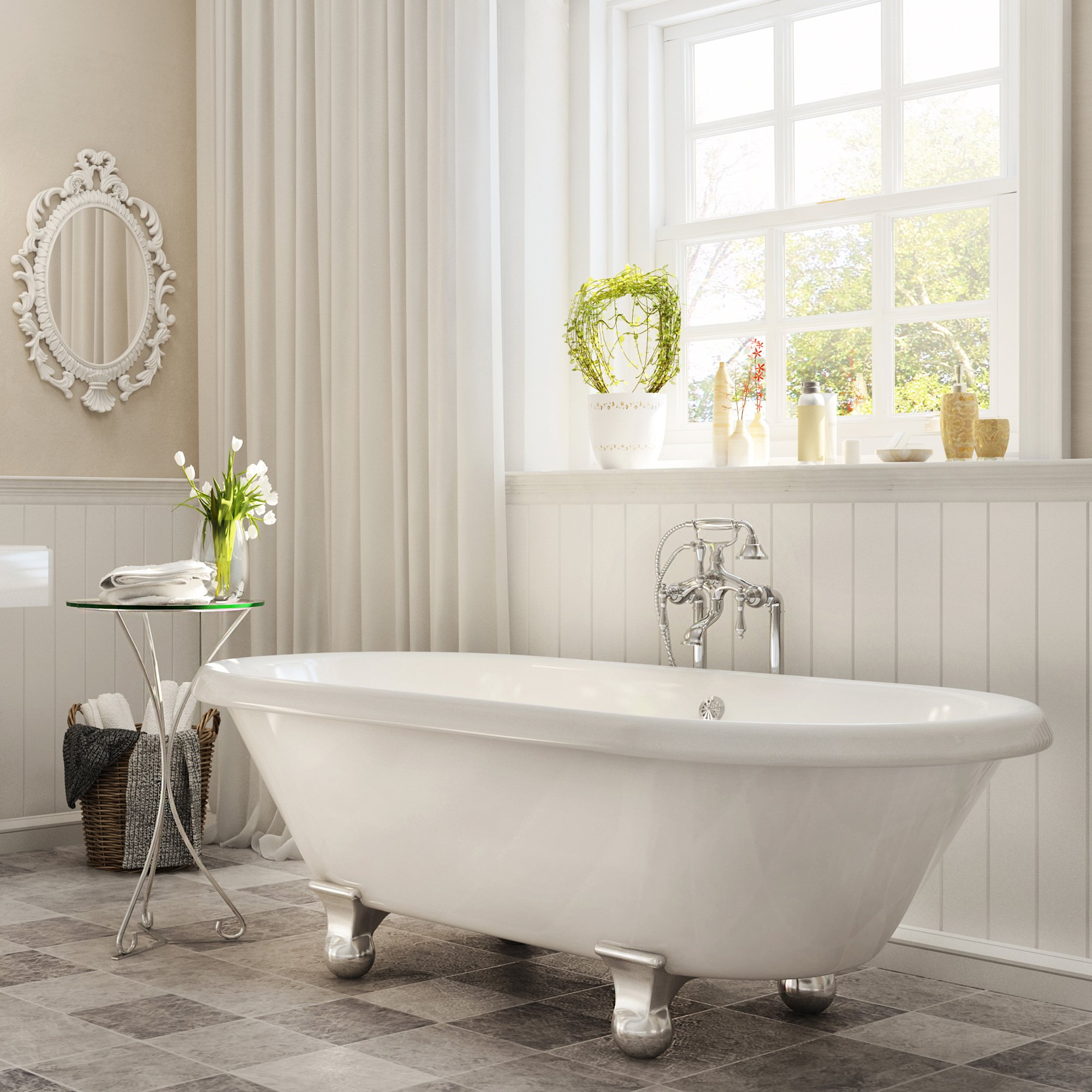 Luxury 60 inch Modern Clawfoot Tub in White with Stand-Alone Freestanding Tub Design, includes Modern Polished Chrome Cannonball Feet and Drain, from The Dalton Collection