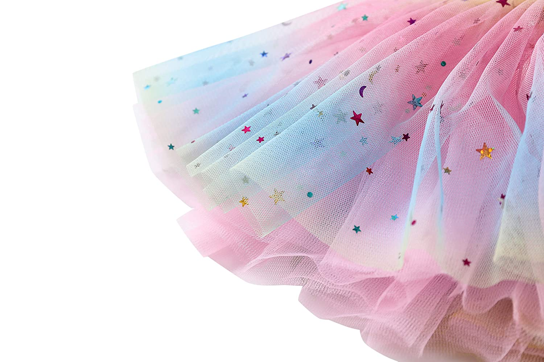 WGOODTECK Baby Girls Rainbow Sparkle Tutu Skirt Pentagram Sequin 3 Layered Elastic Puffy Tulle Skirt for Baby Girls 2-Pack