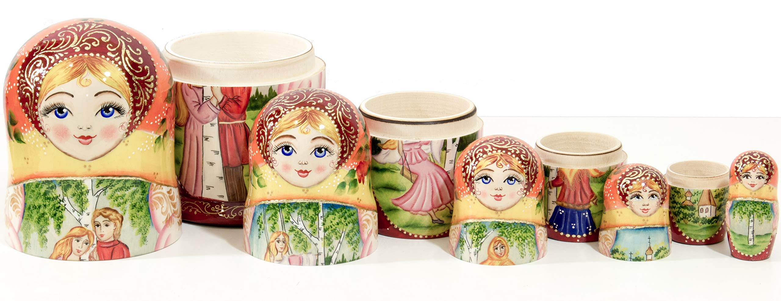 Russian Nesting Doll - Village Scenes - Hand Painted in Russia - 5 Color/Size Variations - Traditional Matryoshka Babushka (6.75``(5 Dolls in 1), Scene L) by craftsfromrussia (Image #7)
