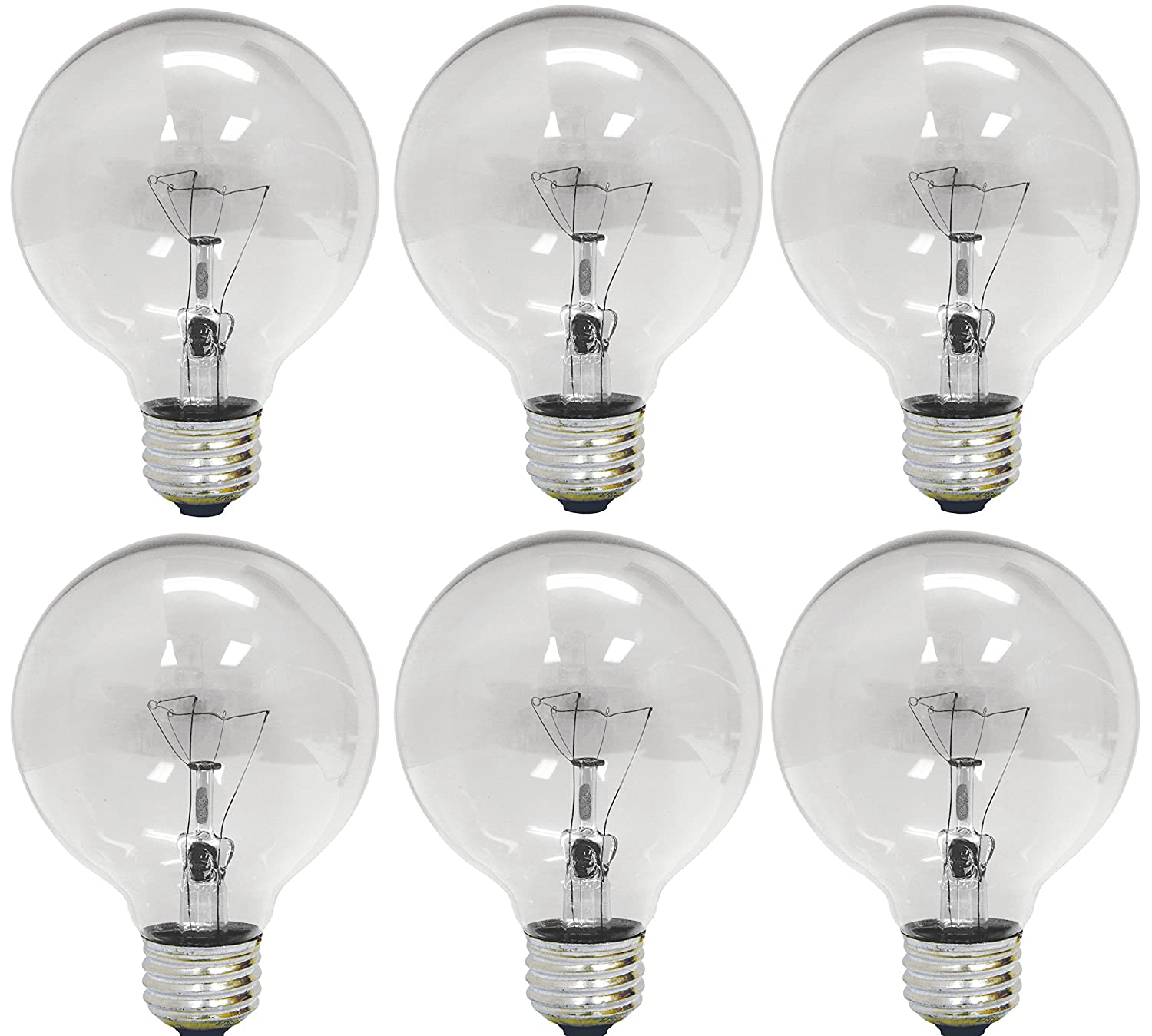 GE Lighting 12980 40-Watt 410-Lumen G25 Globe Light Bulbs, Crystal ...