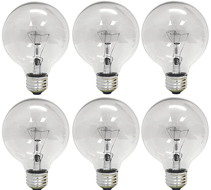 GE Lighting 12980 40-Watt 410-Lumen G25 Globe Light Bulbs, Crystal Clear, 6-Pack