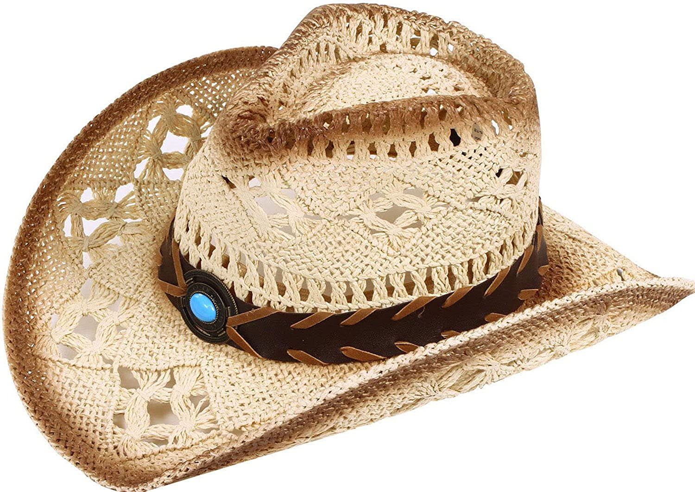 Verabella Men//Womens Classic Western Cowboy Straw Hat w//Leather Band