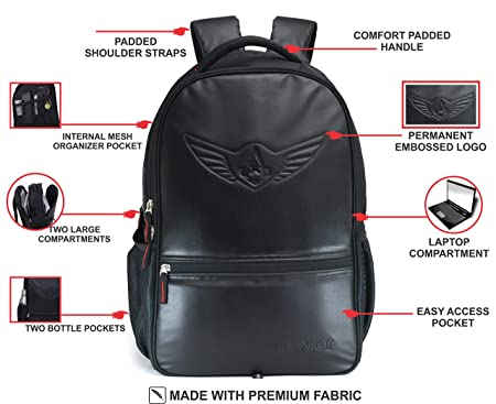 AUXTER Blacky 30 LTR School Bag Casual Backpack with Laptop Compartment