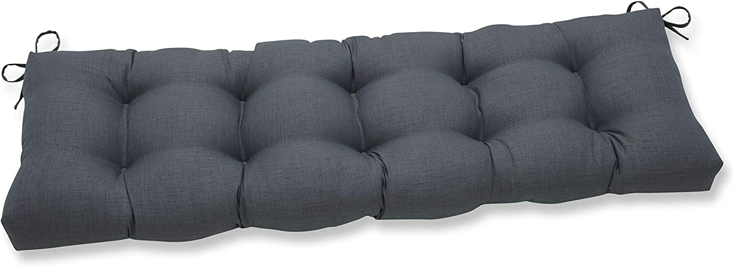 "Pillow Perfect Outdoor/Indoor Rave Graphite Tufted Bench/Swing Cushion, 56"" x 18"", Gray"