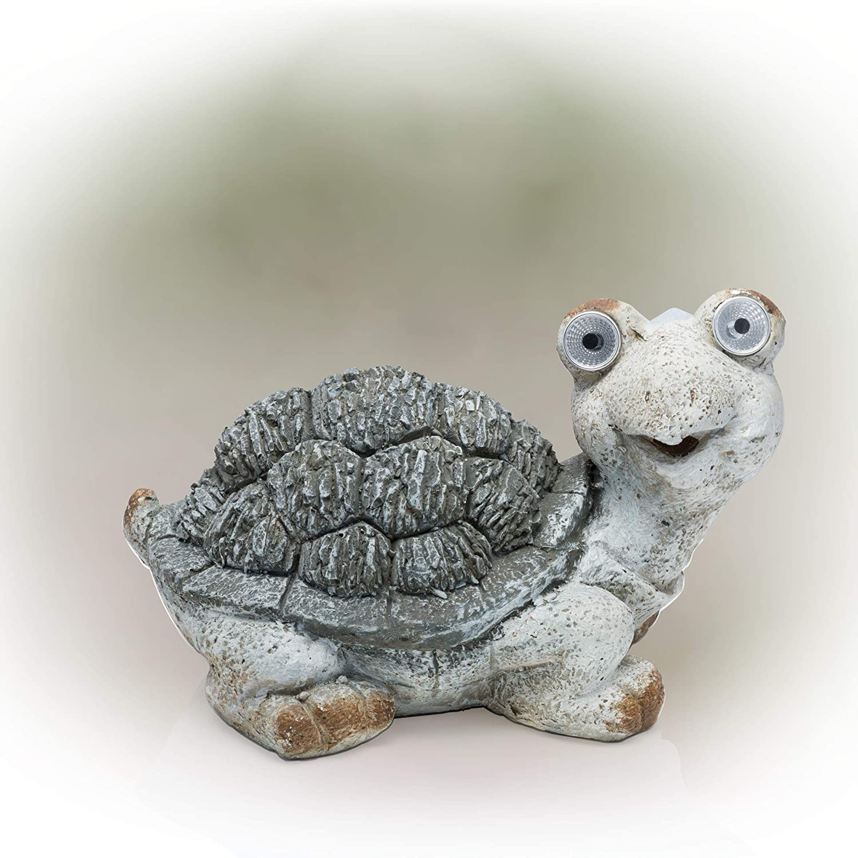 "Alpine Corporation QWR472SLR KZART Alpine Solar Turtle Statue, 10 Inch Tall, 10"", Gray"