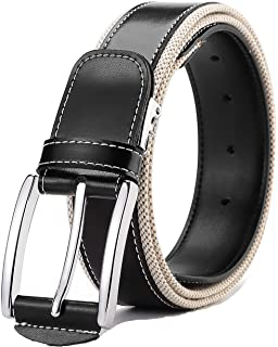 Ayli Mens Metal Buckle Genuine Top Grain Leather Handcrafted Business Dress Belt