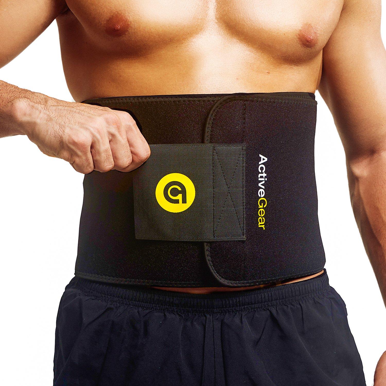 ActiveGear Waist Trimmer Belt for Stomach and Back Lumbar Support, Medium: 8'' x 42'' - Yellow