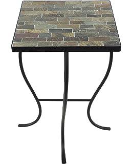 208 Fryar Design Mosaic Tile Square Top Table With Metal Base, Natural Slate