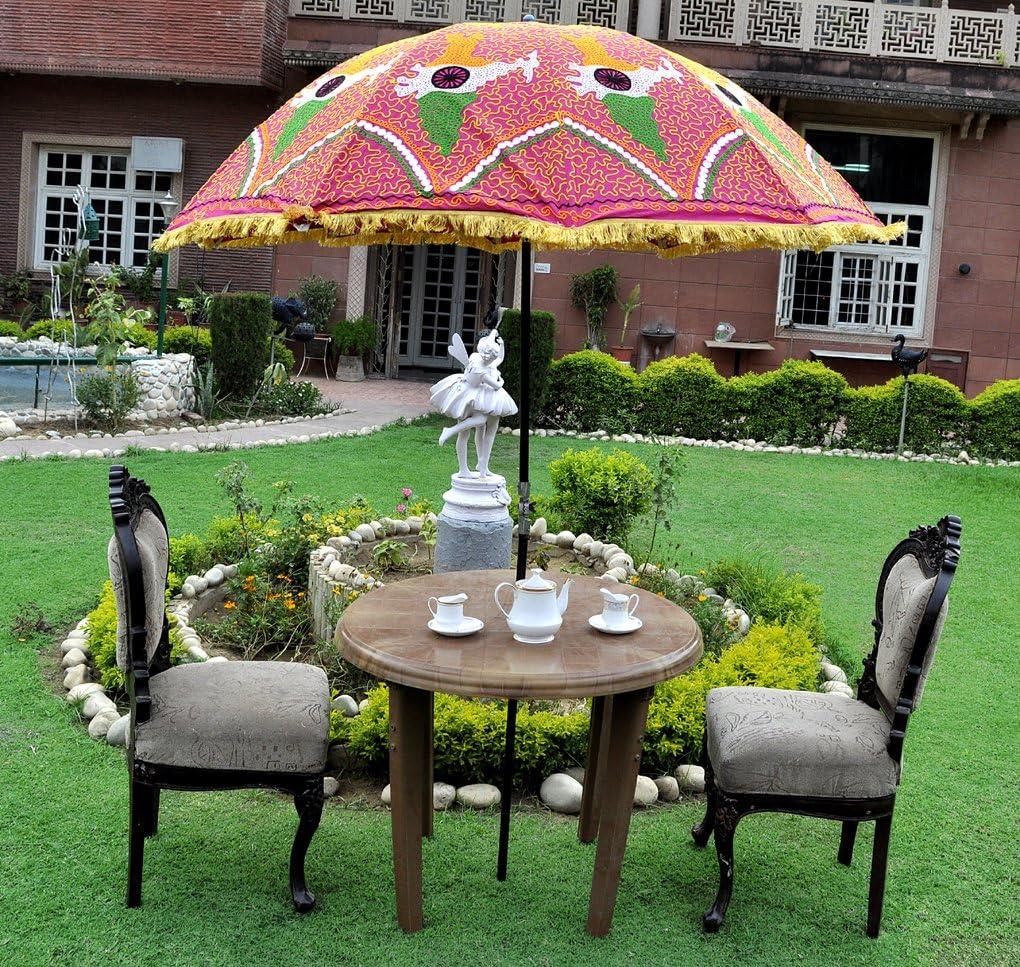 Indian Designer Garden Parasol sombrilla paraguas al aire libre grande: Amazon.es: Jardín