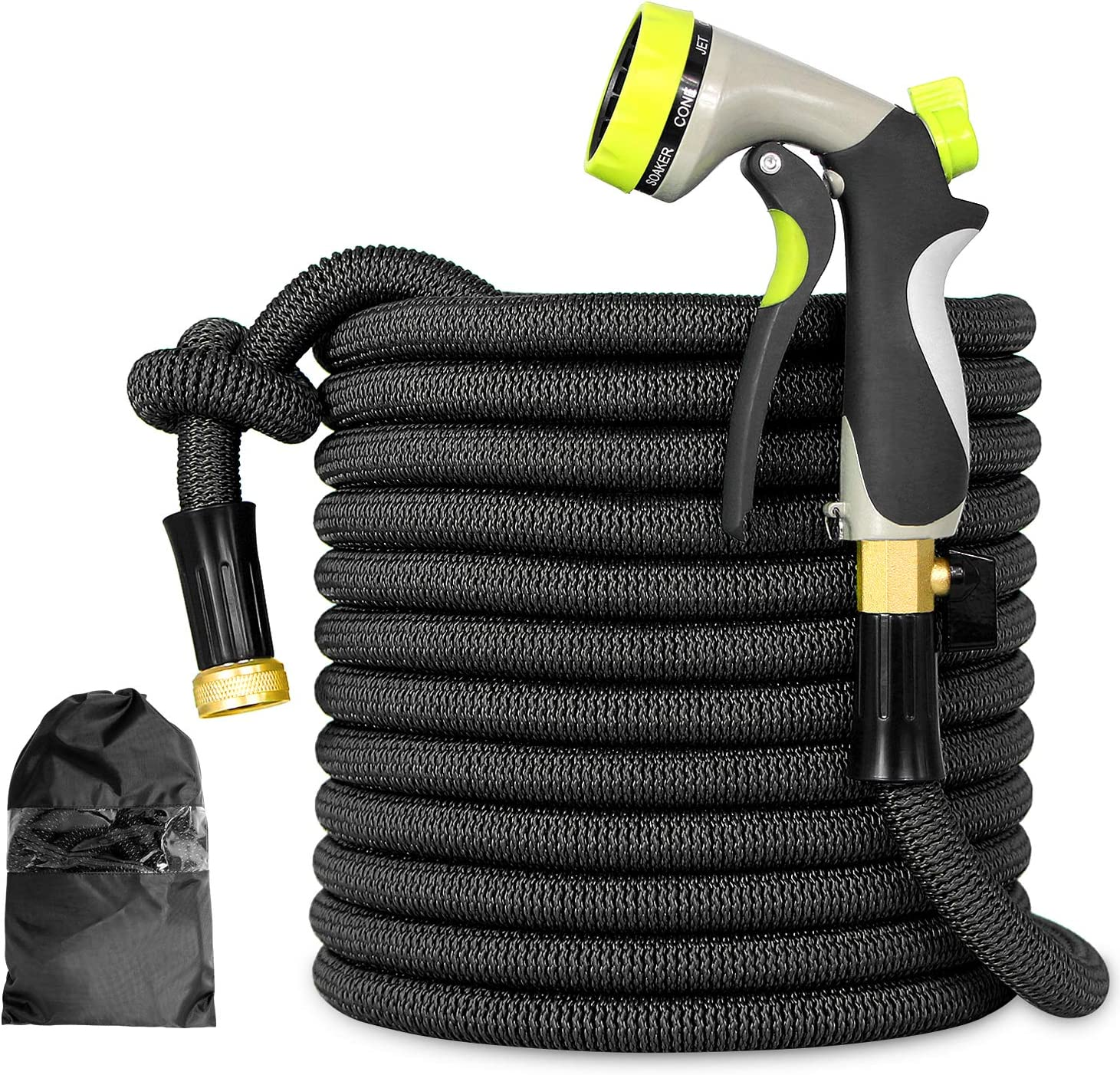 Besiter Flexible and Expandable Garden Hose - Strongest Triple Latex Core with 3/4 Solid Brass Fittings Free 8 Function Spray Nozzle, Easy Storage Kink Free Pocket Water Hose(50FT)