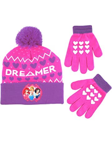7709fc88b92 Disney Girls  Little Princess Character Hat and Gloves Cold Weather Set