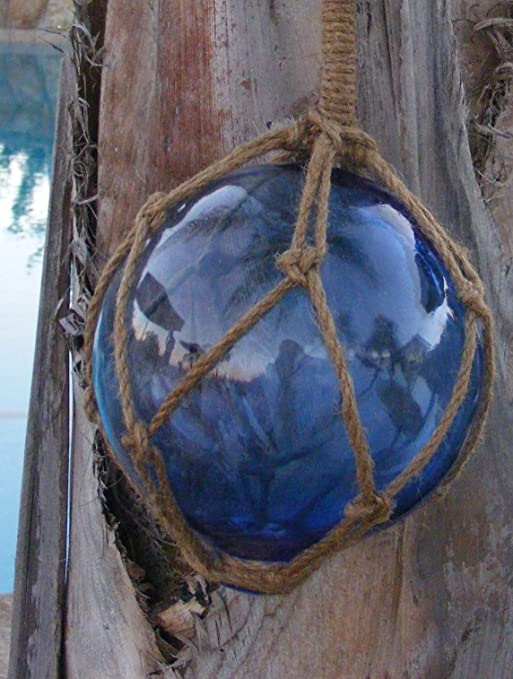 Blue Japanese Glass Fishing Float Fish Net Buoy