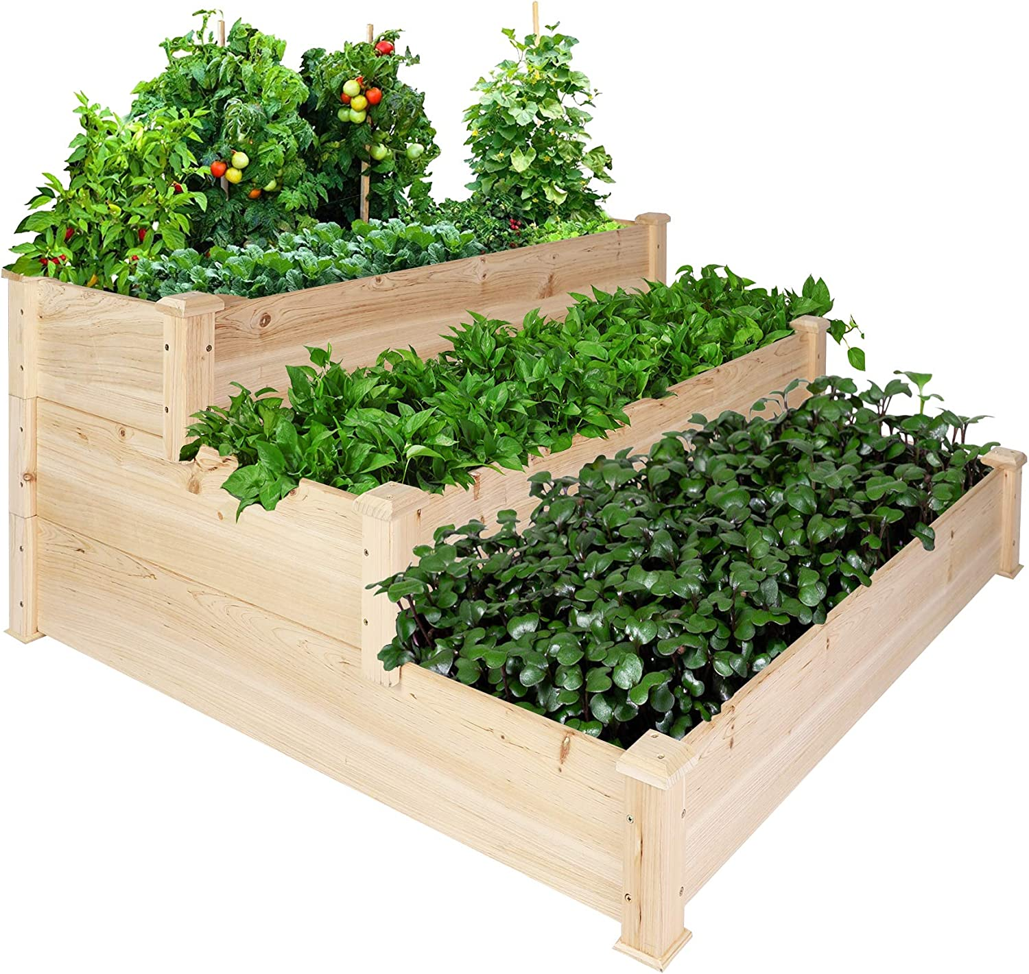 """LONABR 3 Tier Raised Garden Bed,47"""" x 46.5"""" x 22"""" Elevated Wood Planter Box Stand Customizable Herb Garden Outdoor Patio for Vegetables Flower,Natural"""