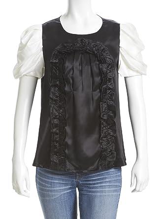a57ece5b9bd Everjune Silk Satin Blouse Shirt - Black at Amazon Women s Clothing ...