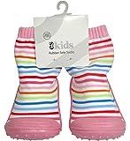 ES Kids Rubber Soled Socks - Pink Rainbow 6-12mth, Pink