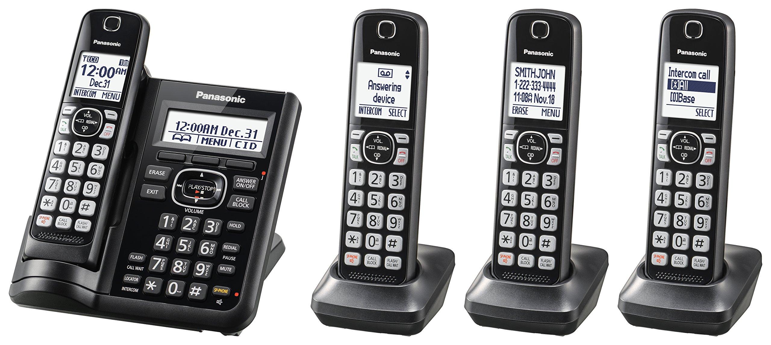 Panasonic KX-TGF544B Expandable Cordless Phone with Call Block and Answering Machine - 4 Handsets by Panasonic