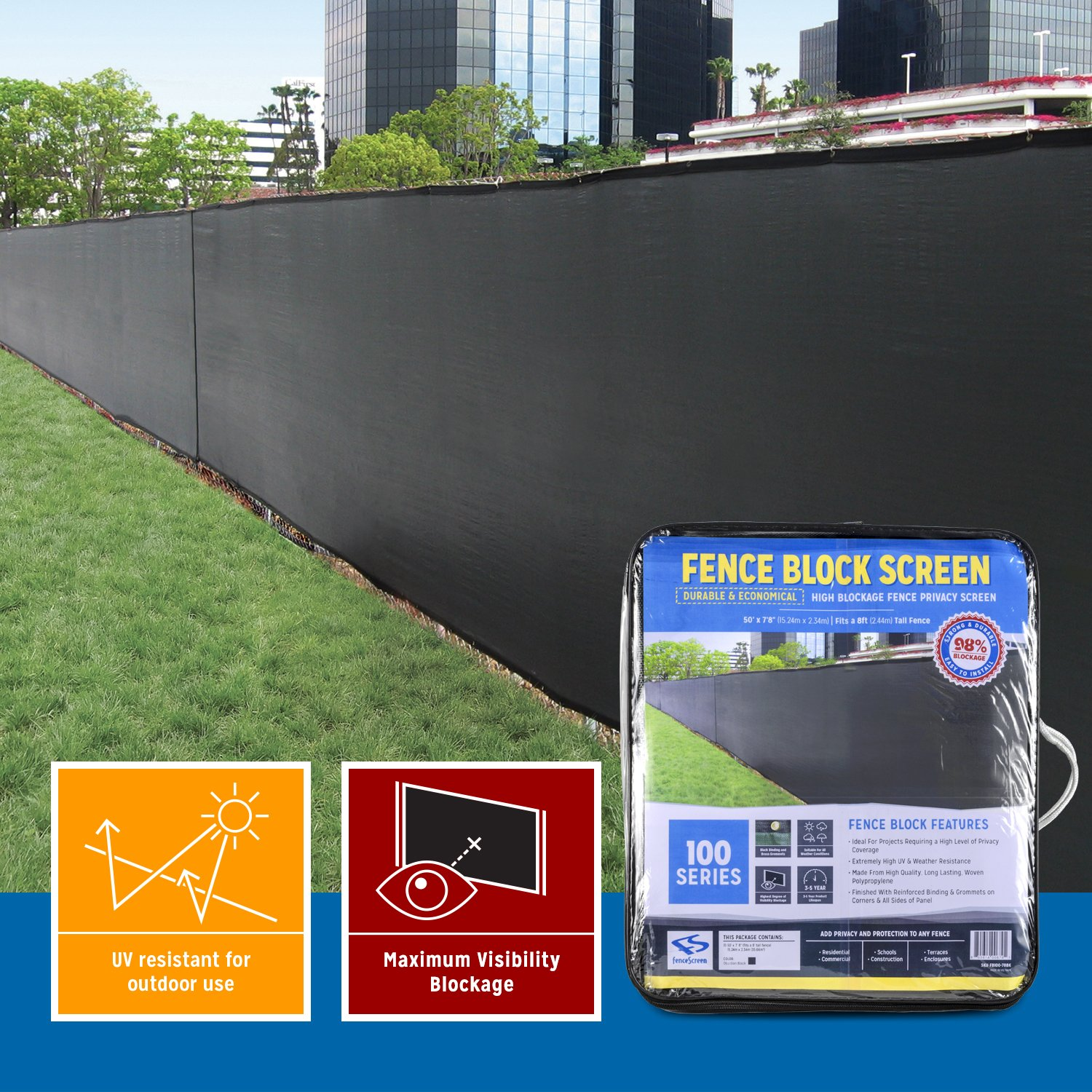 Extreme 98% Blockage Fence Privacy Screen (50-ft x 6-ft, Carbon Black) by FenceScreen