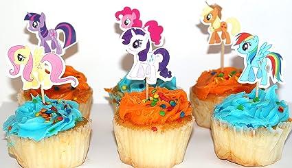 Amazon.com: 24 piezas – My Little Pony Tema Cupcake Topper ...