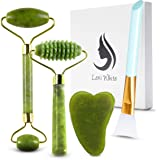 Gua Sha Massage Tool - Jade Roller Face Roller Stone Guasha 6 in 1 Face Massager Set for Face, Jade Facial Roller   Silicone