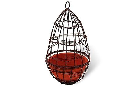 Amazon.com: Hanging Wire Cloche Planter with Terra Cotta Pot: Garden ...