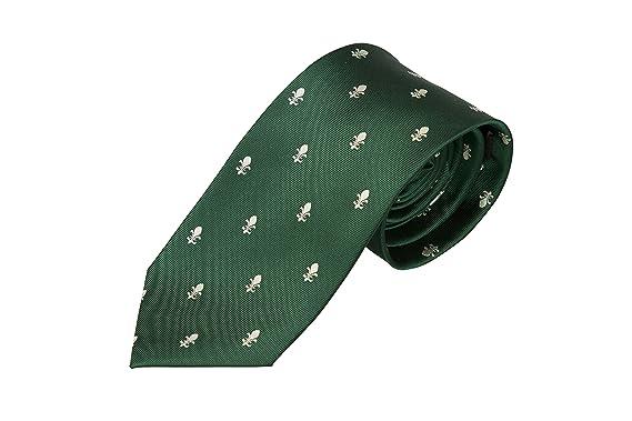 Slim necktie - Green twill, cream white Fleurs de lis, lilies Notch