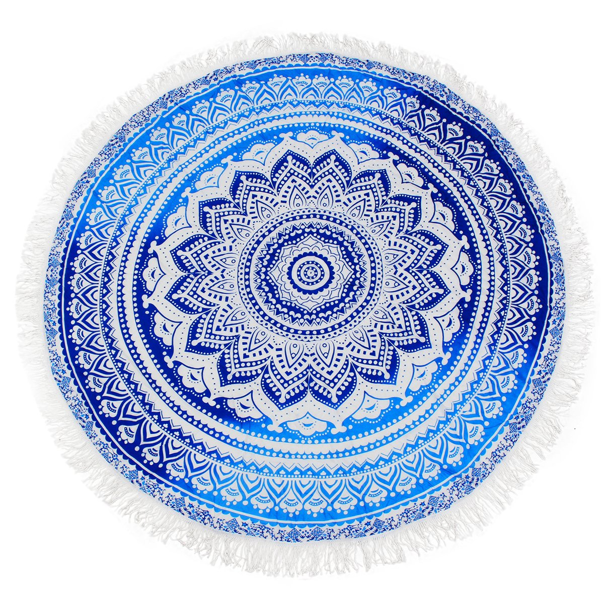 KING DO WAY Roundie Indian Mandala Tapestry Soft Breathable Tassels Beach Towel Used as Tablecloth Wall Hanging Decoration Hippie Beach Blanket Yoga Mat-Sunscreen Shawl Wrap Skirt 59'' DO WAYDeserve3977